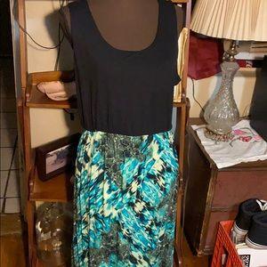 Faded Glory solid/print maxi dress SZ 16-18 XL